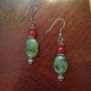 Seattle artist handmade stone bead drop earrings